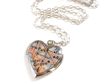 Map Locket, Small Silver Heart, Featuring Disneyland landmark Anaheim California, Vintage Heart Locket, Sterling Silver Chain