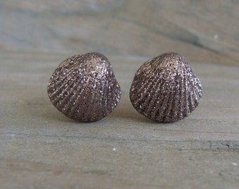 Bronze Copper Seashell Glitter Posts Stud Earrings Beach Wedding Bridal Sea Shell Bridesmaid Ocean Wave Sand