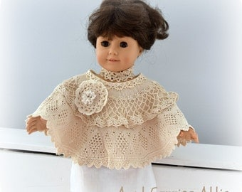 18 Inch Doll Crochet and Lace Poncho made from Vintage Doilies Beige