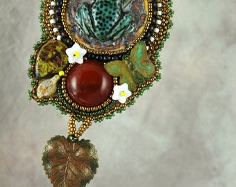 Necklace, Bead Embroidered Necklace, Butterfly, Frog, Porcelain, leaves, green. handmade, one-of-a-kind, beaded