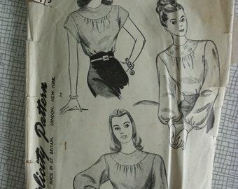 "Late 1940s Blouse - 32"" Bust - Simplicity 1796 - Vintage Sewing Pattern"