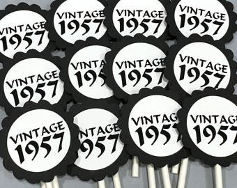 60th Birthday Cupcake Toppers - VINTAGE 1958, Black and White or Your Colors,  Set of 12