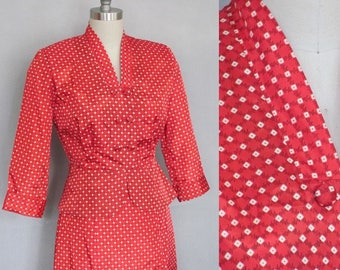 SALE, Vintage 50s Red Suit / New Look Hourglass 1950s / Red Taffeta / Betty Page, Rockabilly Bombshell, I Love Lucy, small