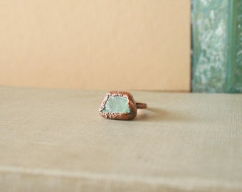 Green Fluorite Ring Electroformed Copper Size 6.25