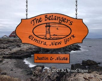 Personalized Sign Lighthouse Family Name Sign Wooden Sign Last Name Sign RV Custom Wood Sign Beach Custom Sign JGWoodSigns Etsy Belanger
