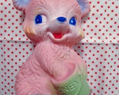 Vintage Pink Honey Bear Squeeze Toy Baby Big Eyed