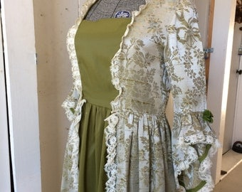 Vintage 1970s Regal Green Damask Colonial Dress Ball Gown Costume 18th Century Marie Antoinette Renaissance Theatre Size Large