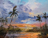 TRANQUIL MORNING Framed Original Oil Painting Art Tropical Ocean Lagoon Palm Trees Island Hawaii Tahiti Caribbean Sky Sunrise Sunset Relax