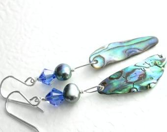 Blue Paua Shell Earrings, Peacock Pearl Jewelry, Natural Abalone, Sapphire Crystal