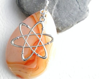 Tangerine Orange Agate Necklace, Stone Teardrop Pendant, Big Rock Jewelry, Science Atom Charm