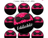 Editable - Glam Bow Girly Bottle Cap Collage Digital Set 1 Inch Hot Pink Polka Dot Circle 4x6 - Instant Download - BC1149