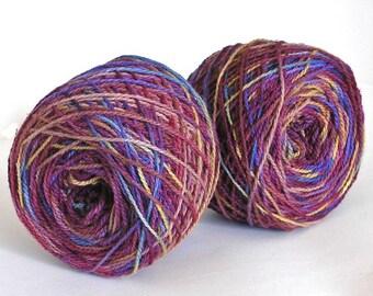 Hand Dyed Yarn Wool Silk Nylon Sport Weight Yarn Soft Colorful Shiny Yarn 375 yards - Burgundy Lights