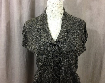 Vintage 1950's 1960's Cardigan Franpear black and gold lurex sleeveless large