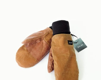 Wax cotton and tan leather mittens for men and women