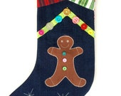 Personalized Christmas stocking  - gingerbread boy - family gifts -  family traditions - contemporary designs - grandchild gift