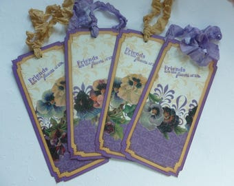 Vintage style bookmarks, purple and gold, pansies, hand stamped, friends are the flowers of life, gift tags - set of 4
