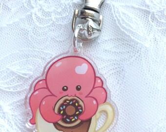 Cute Octopus Tea Donut Acrylic Charm Keychain