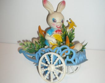 Vintage Easter Bunny Plastic Flower Cart Easter Decoration Shabby Kitsch