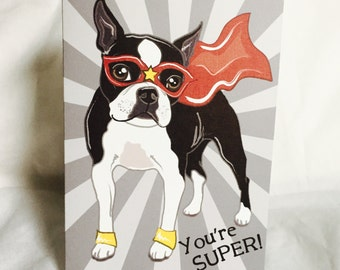 Super Boston Greeting Card - Customizable with Your Letter Choice