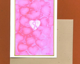 Breast Cancer Awareness Note Card - Surrounded by Love Thank You Thinking of You Gifts Get Well Soon Support Pink Ribbon Patient
