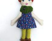 Cloth Doll Red Hair, Green Cowl Rag Doll Soft Doll Christmas Doll Gifts under 75 fabric doll heirloom doll
