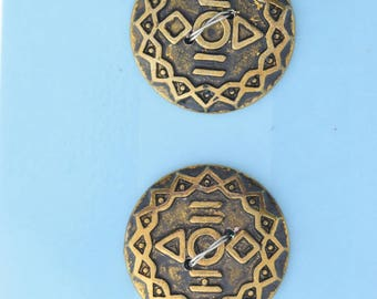 Button set of 4 , 2 hole , Plated plastic , Antique gold finish , sold 4 each OB9539AG