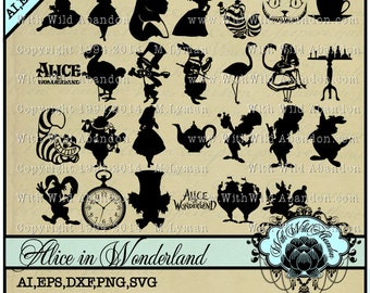 Alice in Wonderland SVG, Clipart, dxf,March Hare, Cheshire Cat, Mad Hatter, Tea Party, Tim Burton, svg,ai,eps Cutting File, png