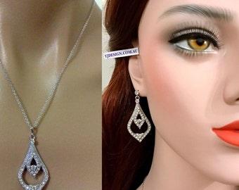 Bridal Jewelry Set, Dangle Bridal Earrings, Teardrop Necklace, Vintage Style Wedding Earrings, Swarovski Crystal Wedding Jewelry, ANABELLA