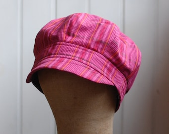 Daria S: Pink plaid summer sun hat made from recycled fabric, lightweight beach hat for women and girls, one of a kind modified newsie