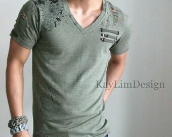Upcycled Men's destroyed t-shirt / men' cotton tshirt/ tattered t-shirt / unisex t-shirt / screen print - KMT077
