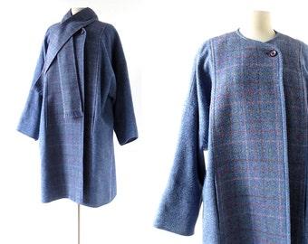 Irish Wool Coat | Avoca | Plaid Coat and Scarf | XL XXL