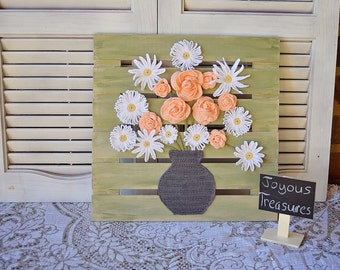 Handcrafted Rustic Wooden Sign-Shabby Chic Sign- Home Decor Gift - Crochet Flowers In A Vase Wall Art-Crochet Scene Wall Hanging Handmade