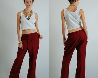 "Menswear Trousers Vintage 60s Burgundy Made in the USA  Slouchy Hippie Menswear Trouser Pants (32"" waist)"