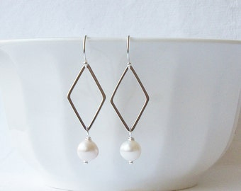 White Freshwater Pearl Earrings, Bridesmaid Jewelry