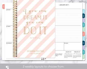 academic planner 2017-2018 calendar | weekly student planner add monthly tabs | personalized planner agenda | pink gold stripes quote