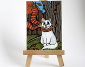 Original ACEO Odd Eyed White Cat | Autumn Windy Garden Park | Whimsical Cat Art by Lisa Marie Robinson