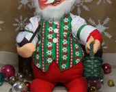Large SANTA ANALEE Doll- Christmas Decor- Bendable with Basket & Pipe- 1986- Hand Painted Face- Stuffed Doll- E12