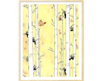 Whimsical Print, Yellow Art, Funny Art, Bird Art, Quirky Home Decor, Fantasy Art, Surreal Art, Housewarming Gift, Giclee Art Print, 11 x 14