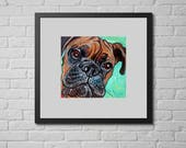 BOXER Art, Dog Print, Boxer Dog Wall Art, Gifts for Dog Lovers, 8x8""