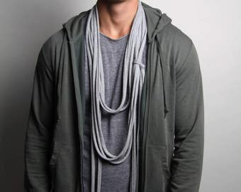 Heather Gray Scarf, Long Scarf, Gray Necklace, Mens, Womens, Jersey Cotton, Burning Man