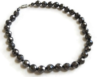 Hematite Glass Crystal Beads Necklace Vintage Single Strand Beaded Choker
