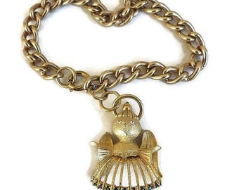 Rhinestone Angel Charm Bracelet Vintage