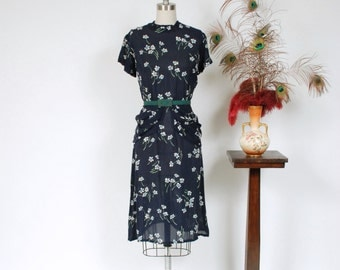 Vintage 1940s Dress - Semi Sheer Breezy Summer Rayon 40s Peplum Dress in Navy Blue with Blue and Green Floral