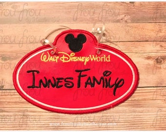 "Digital Embroidery Design Machine Applique Stroller Name Tag Dis World With Mister Mouse Head IN THE HOOP Project 4""-16"""