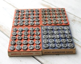 Acro Number Tacks, Window Hardware Tacks, Acro Hold-Tite Tacks, Vintage Hardware, Metal Numbers, Craft Supplies, Assemblage Supplies