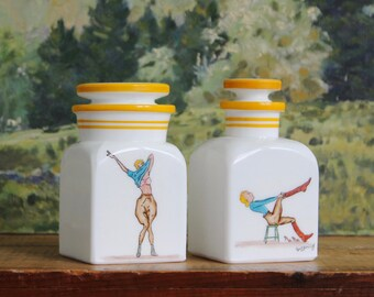 Cyril Gorainoff Huntswoman Vanity Jars, Abercrombie & Fitch Collectibles, Cyril Gorainoff Apothecary Jars,  Equestrian Hunt Themed Glass