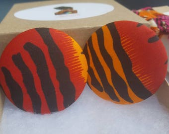 Red and orange fabric button earrings, Gifts for her, Gifts for women
