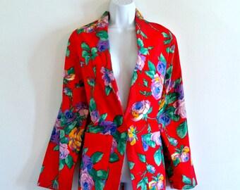 Vintage 70s Bright Floral Long Blazer - Size M