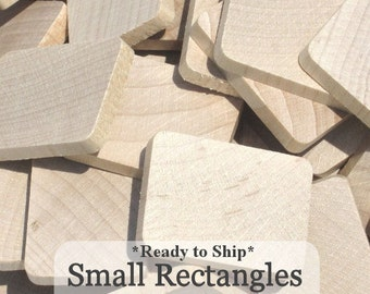 Unfinished Wooden Rectangles 1 3/16inch x 1inch x 3/16inch, Ready to ship Pack of 100