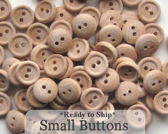 Small Unfinished Wooden Buttons 1/2 inch, Pack of 100